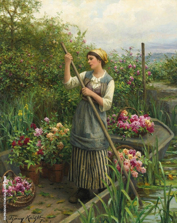 Gathering Flowers Along The River by Daniel Ridgway Knight | Oil Painting Reproduction Replica On Canvas - Reproduction Gallery
