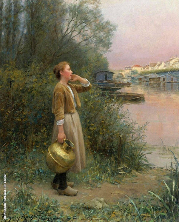 Girl with Water Jug Painting By Daniel Ridgway Knight
