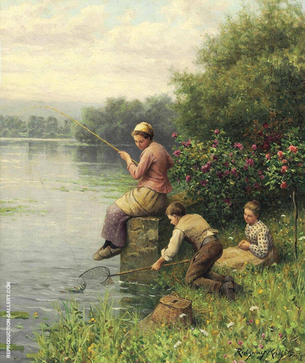 Golden Days of Fishing Painting By Daniel Ridgway Knight