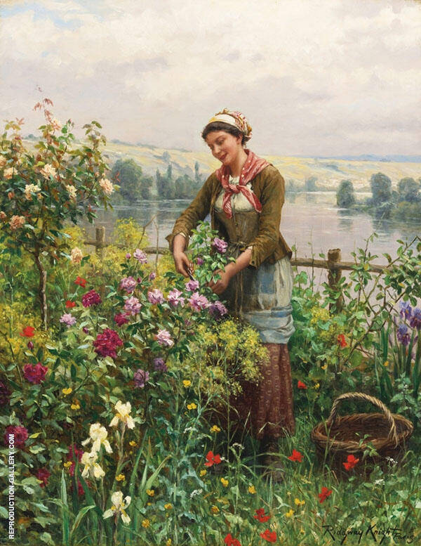 In The Garden by Daniel Ridgway Knight | Oil Painting Reproduction Replica On Canvas - Reproduction Gallery