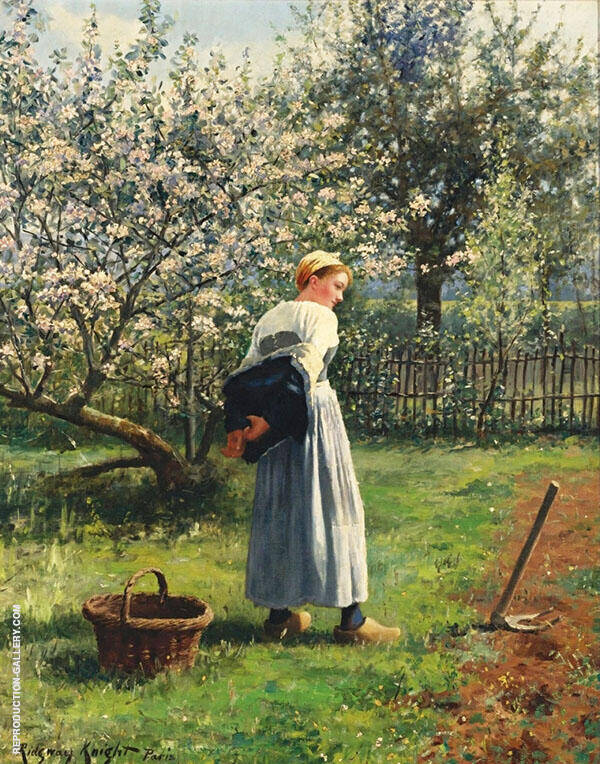 In The Orchard Painting By Daniel Ridgway Knight - Reproduction Gallery
