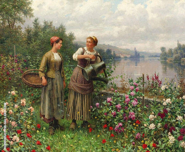 Madeleine and Maria on The Terrace Painting By Daniel Ridgway Knight