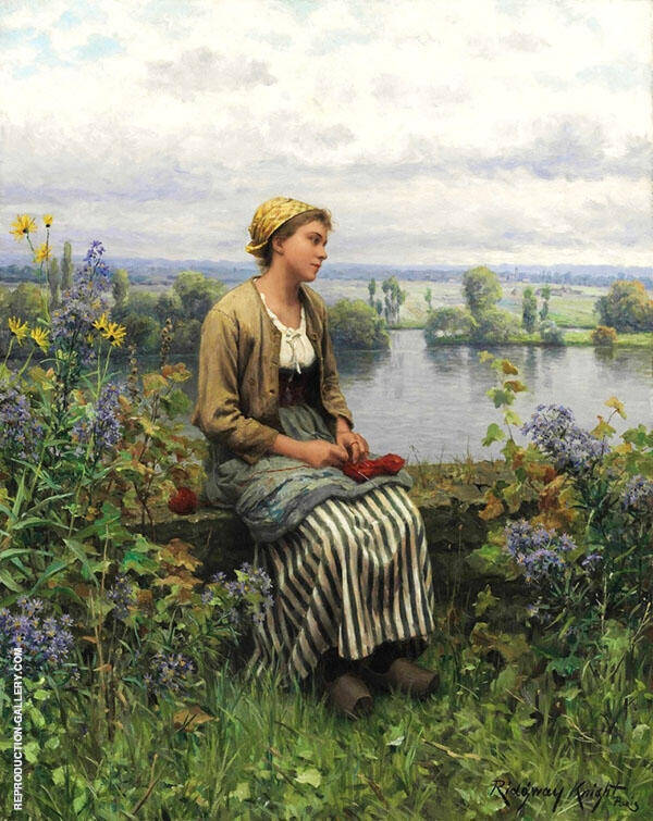 Normandy Girl Painting By Daniel Ridgway Knight - Reproduction Gallery