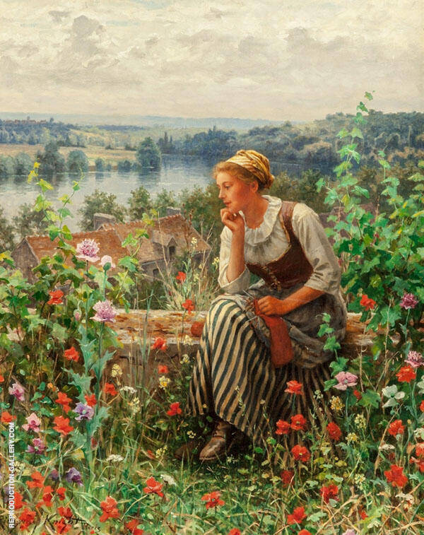 Normandy Girl Sitting in a Garden Painting By Daniel Ridgway Knight