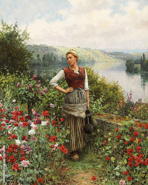 On The Terrace at Rolleboise Painting By Daniel Ridgway Knight