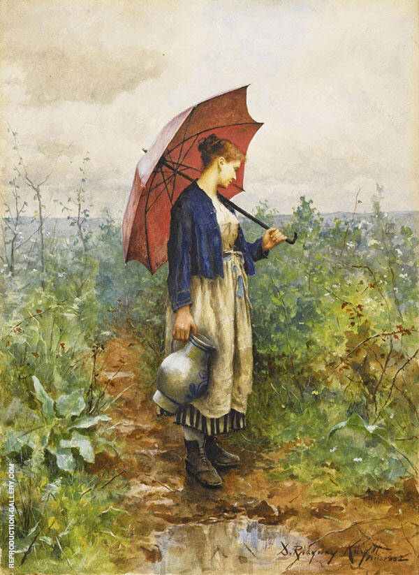Portrait of a Woman with Umbrella Gathering Water By Daniel Ridgway Knight