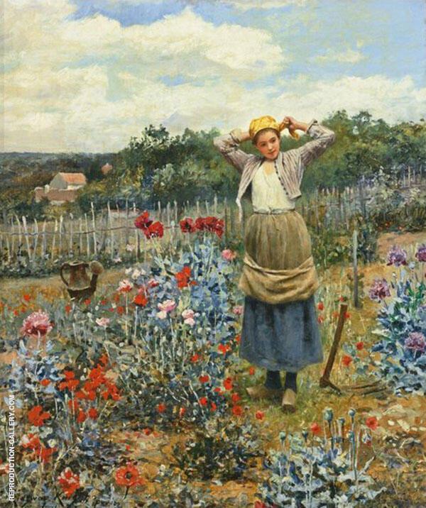 Tending The Garden Painting By Daniel Ridgway Knight