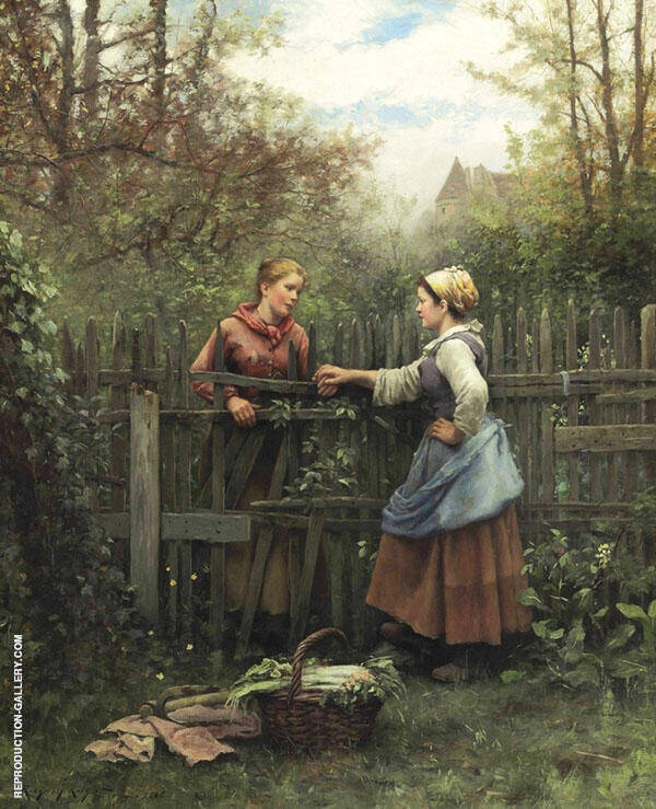 The Meeting at The Fence Painting By Daniel Ridgway Knight