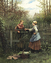 The Meeting at The Fence By Daniel Ridgway Knight