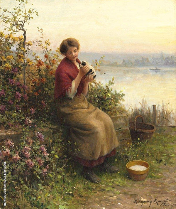 The New Puppy Painting By Daniel Ridgway Knight - Reproduction Gallery