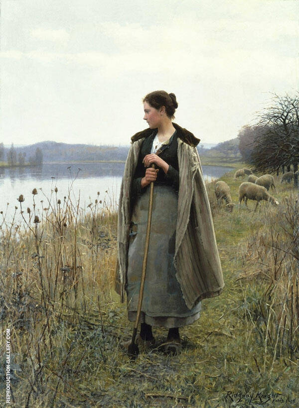 The Shepherdess of Rolleboise by Daniel Ridgway Knight   Oil Painting Reproduction Replica On Canvas - Reproduction Gallery