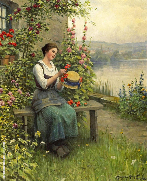Trimming Her Sunday Hat Painting By Daniel Ridgway Knight
