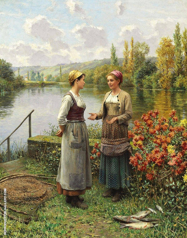 Two Women in a Landscape Painting By Daniel Ridgway Knight