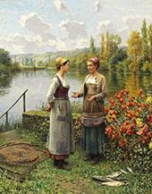 Two Women in a Landscape By Daniel Ridgway Knight