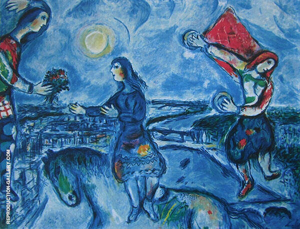 Lovers Over Paris Painting By Marc Chagall - Reproduction Gallery