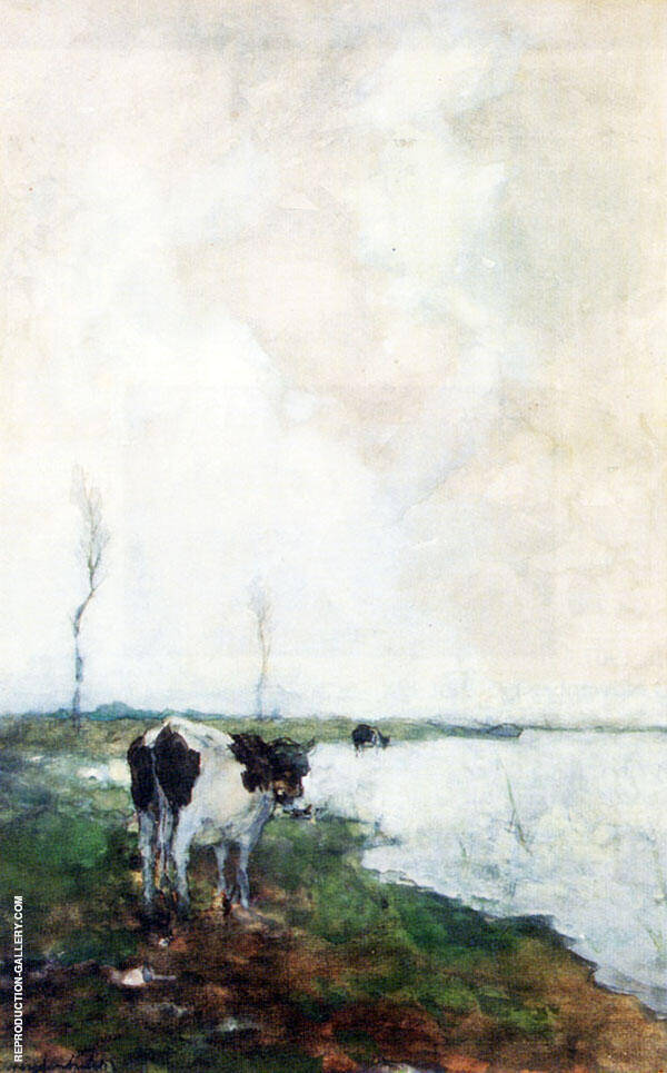 A Cow Standing By The Waterside In A Polder By Johan Hendrik Weissenbruch