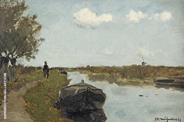 Along The Towpath By Johan Hendrik Weissenbruch