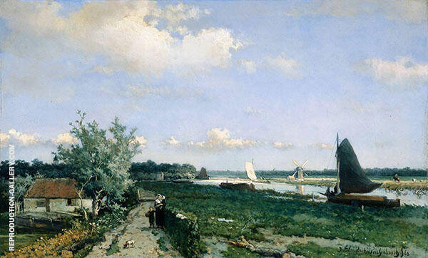Dutch Canal Scene at Rijswijk 1870 By Johan Hendrik Weissenbruch