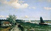 Dutch Canal Scene at Rijswijk 1870 By Johan Hendrik Weissenbruch