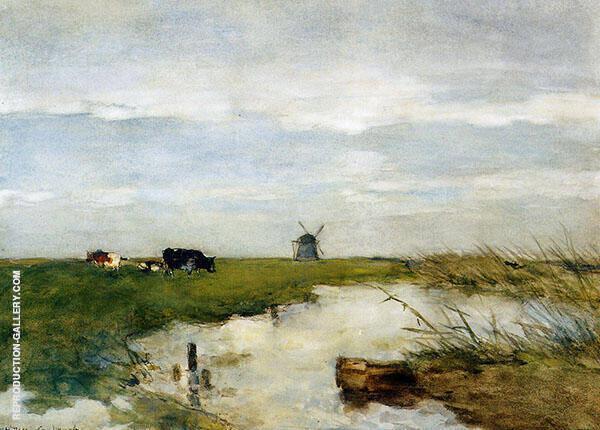 Dutch Polder Landscape Painting By Johan Hendrik Weissenbruch