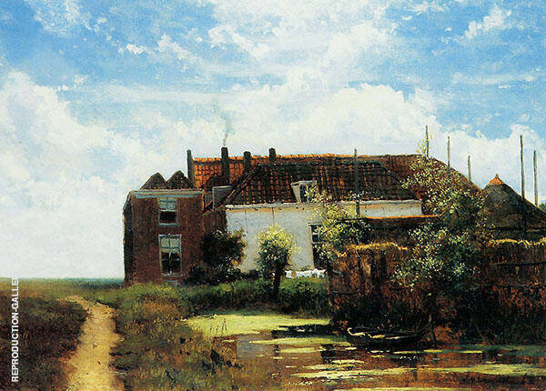 Farm Beside Canal in Polder By Johan Hendrik Weissenbruch