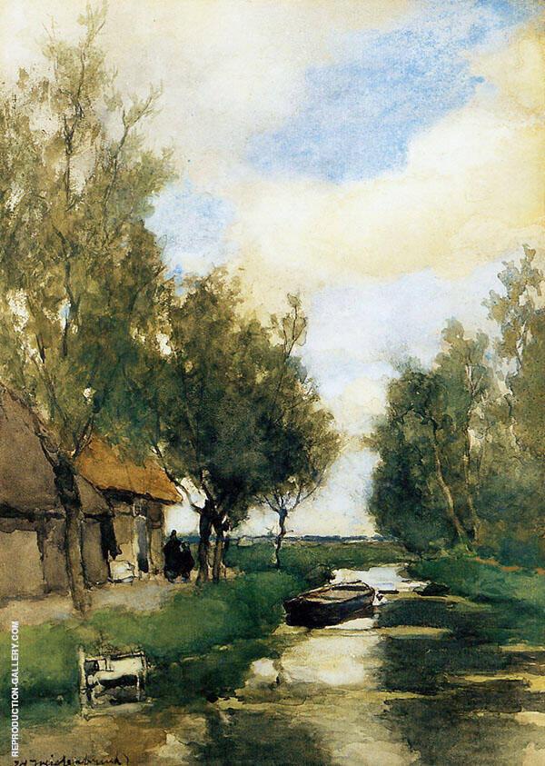 Farm on Polder Canal Painting By Johan Hendrik Weissenbruch