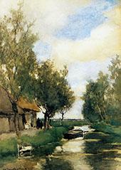 Farm on Polder Canal By Johan Hendrik Weissenbruch