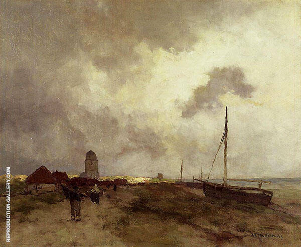 Fisherfolk Returning Home By Johan Hendrik Weissenbruch