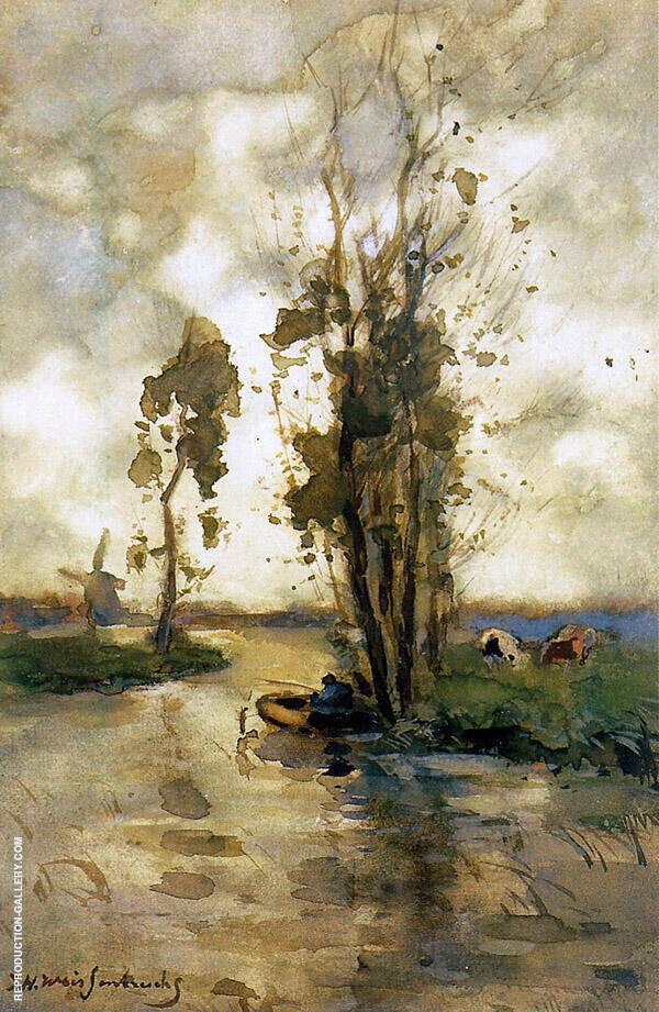 Fisherman in Polder Landscape Painting By Johan Hendrik Weissenbruch