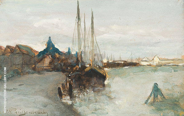 Harbour of Zaandam By Johan Hendrik Weissenbruch