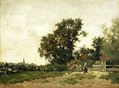 Landscape with a Peasant Girl Feeding Chickens By Johan Hendrik Weissenbruch