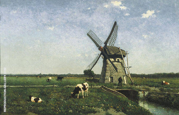 Landscape with Mill Near Schiedam Painting By Johan Hendrik Weissenbruch