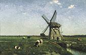 Landscape with Mill Near Schiedam By Johan Hendrik Weissenbruch