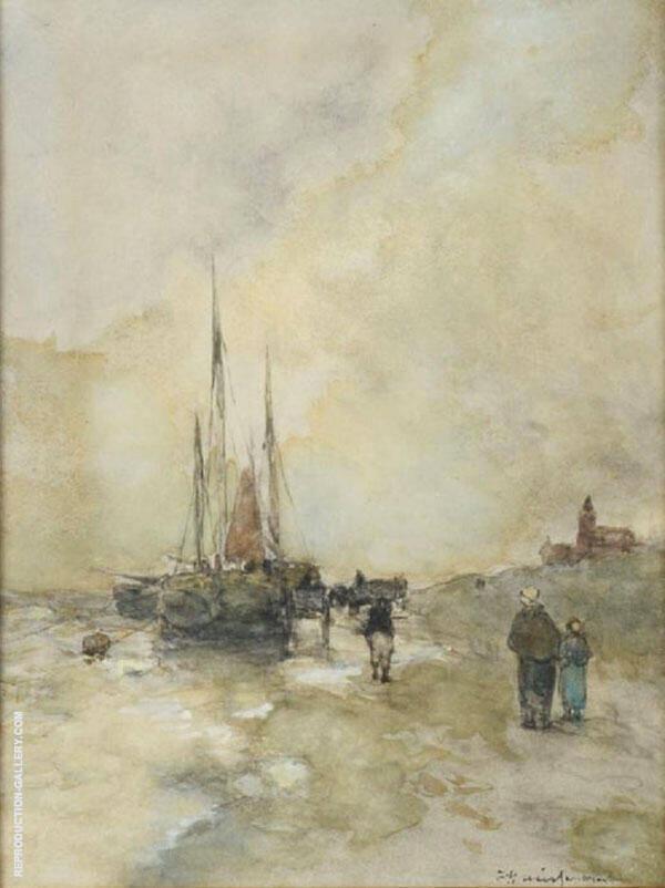 On The Dutch Coast Painting By Johan Hendrik Weissenbruch