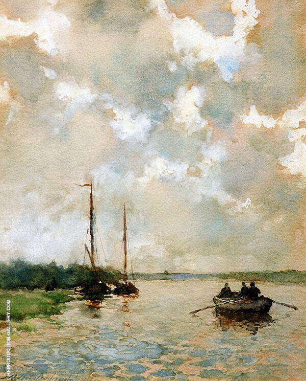 Rowing on The River Painting By Johan Hendrik Weissenbruch