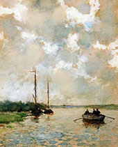 Rowing on The River By Johan Hendrik Weissenbruch