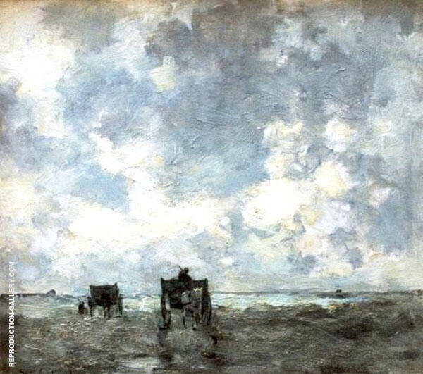 Shell Carts on The Beach Painting By Johan Hendrik Weissenbruch