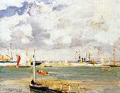 Ships in The Harbour By Johan Hendrik Weissenbruch