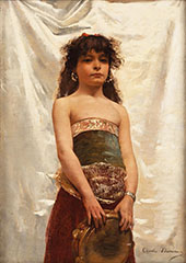 Oriental Girl with Tambourine By Charles Auguste Emile Durand (Carolus-Duran)