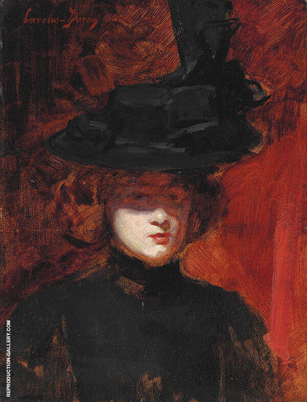Portrait of a Woman in a Black Dress and Hat Painting By ...