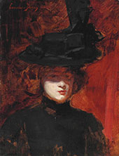 Portrait of a Woman in a Black Dress and Hat By Charles Auguste Emile Durand (Carolus-Duran)