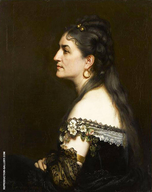 Portrait of a Woman Wearin a Low Necked Dress By Charles Auguste Emile Durand (Carolus-Duran)