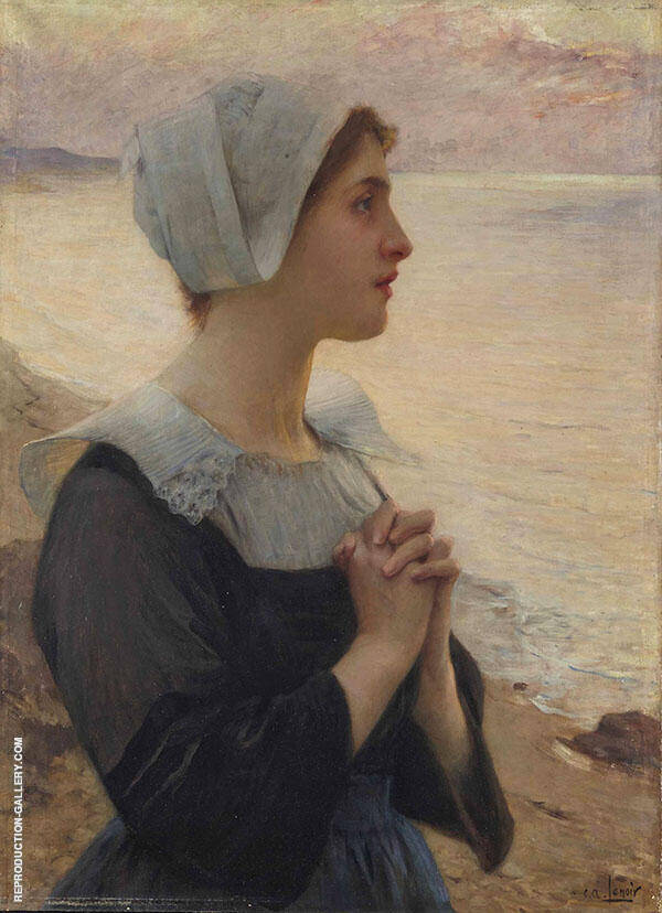 Breton Praying by The Sea Painting By Charles Amable Lenoir