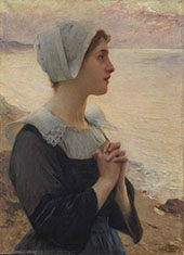 Breton Praying by The Sea By Charles Amable Lenoir