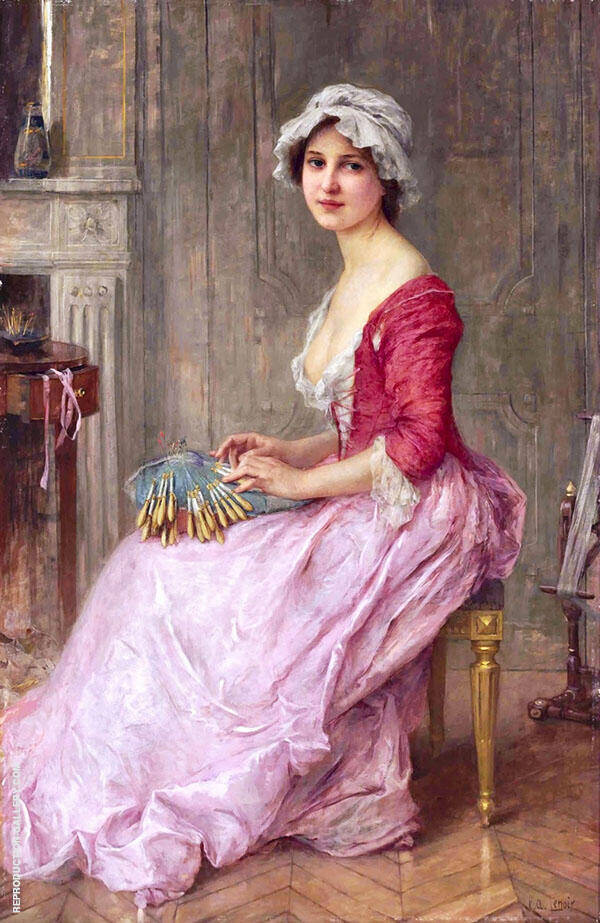 La Dentellire Painting By Charles Amable Lenoir - Reproduction Gallery
