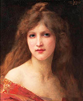 Portrait of a Girl in a Red Dress By Charles Amable Lenoir