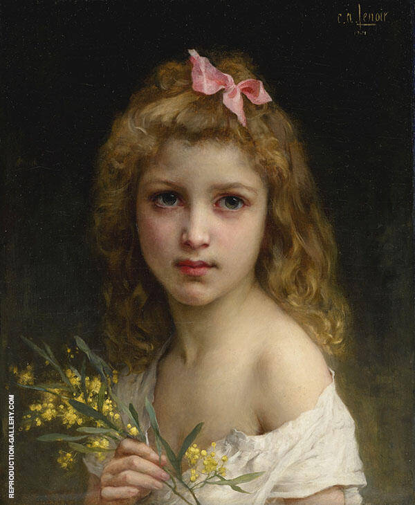 Portrait of A Girl with Mimosa Blossoms 1901 By Charles Amable Lenoir
