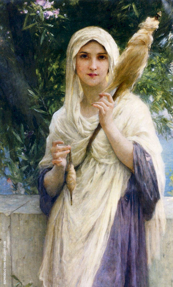 The Spinner by The Sea Painting By Charles Amable Lenoir