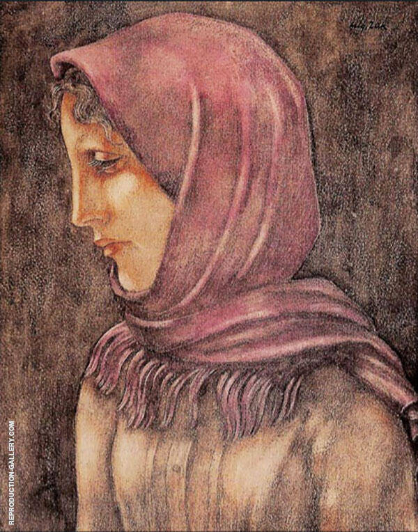 Girl in Pink Shawl Painting By Eugene Zak - Reproduction Gallery