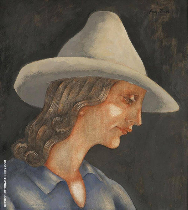 Girl with Hat Painting By Eugene Zak - Reproduction Gallery